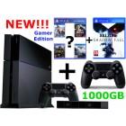 Sony PlayStation 4 Gamer Edition прошивка 1.76 (500-1000Gb) + доп. джойстик + PS Camera + 2 игры