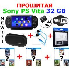 Прошитая Sony PS Vita Wi-Fi 32Gb (20 игр) + наушники + чехол + набор защитных пленок +картриджи со скидкой